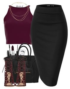 """night out"" by justice-ellis ❤ liked on Polyvore featuring MAC Cosmetics, Tiffany & Co., Gianvito Rossi and hedaj"