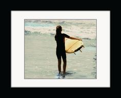 Surfer Girl California Beach Photography, Fine Art Photograph, Home Decor, Wall Art Yellow Photo