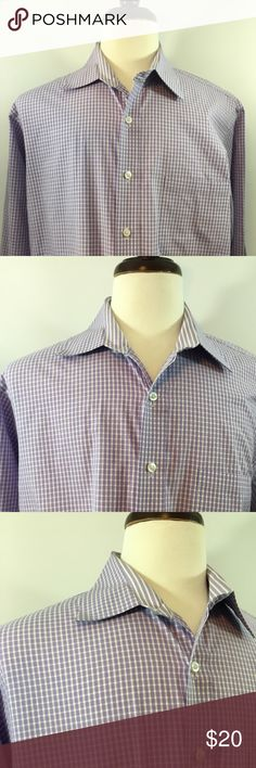 Men's Michael Kors X-Large Dress Shirt Men's Michael Kors XL 17 34/35 Plaid and Checks Long Sleeve Shirt. In Excellent Pre Owned Condition, free of any rips or stains and from a pet free and smoke free home. In purple color design layout pattern. Thanks for shopping my closet! Michael Kors Shirts Casual Button Down Shirts