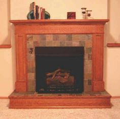 Arts and Crafts tiles surround a fireplace, with a Greene & Greene ...