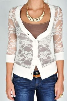 Lace cardigan fashion girly autumn lace necklace jeans style