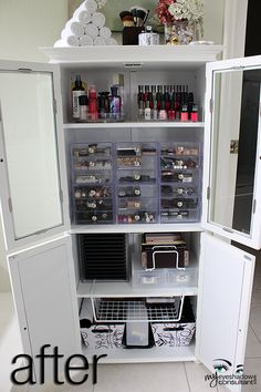 Makeup Storage Idea. I'd do this but I wouldn't keep it in my bathroom.