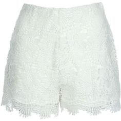 Jane Norman Crochet Shorts (365 ARS) ❤ liked on Polyvore featuring shorts, sale, white, scalloped edge shorts, side zip shorts, white scalloped shorts, scalloped shorts and scallop hem shorts