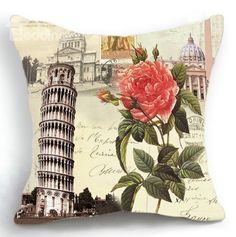 New Arrival Beautiful Red Flower and Antique European Architecture Print Throw Pillow  @bedding inn