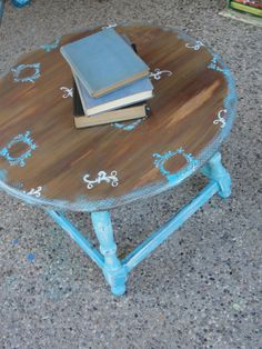 Hand painted solid wood antique accent table by wouldchuckWOOD, $220.00