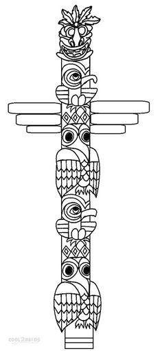 hawaiian totem pole coloring pages - photo#23