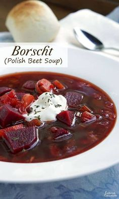 Polish Borscht recipe (Barszcz) creates a beet soup that is chock full of veggies and boasts a bright, sweet and sour flavor making it a perfect first course or warming meal. Polish Soup, Soup Recipes, Cooking Recipes, Free Recipes, Dinner Recipes, Ukrainian Recipes, Lithuanian Recipes