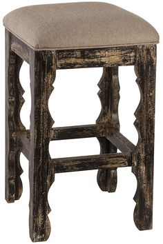 Update your kitchen bar area with a cushioned backless bar stool. Constructed of mango wood, this bar stool has a rustic blackwash finish you'll love. Great for your farmhouse or vintage decor style.