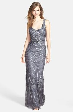Aidan Mattox Sequin V-Back Mesh Gown (Online Only)   Nordstrom