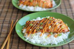 teriyaki salmon, with sriracha cream sauce