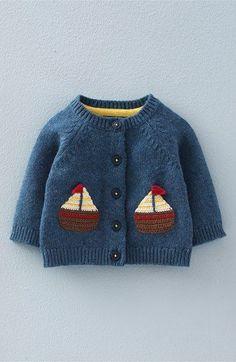Mini Boden 'Crochet Boats' Knit Cardigan (Baby Boys & Toddler Boys) available at Crochet Boat, Crochet For Boys, Boy Crochet, Hand Crochet, Baby Boy Sweater, Baby Coat, Crochet Baby Cardigan, Crochet Jacket, Knit Cardigan
