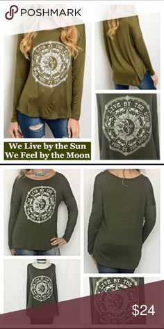 "Olive Green Sun Moon Long Sleeve Tee Top S M L We live by the sun & feel by the moon...so true!  Love this cozy casual celestial tee in a pretty shade of olive green. 96% rayon/4% spandex. Soft, stretchy & flattering relaxed fit. S M L New from maker without tags  Measurements laying flat: Small Chest 18"" Length 23.5""  Medium Chest 19"" Length 24""  Large  Chest 20""  Length 25"" Tops Tees - Long Sleeve"