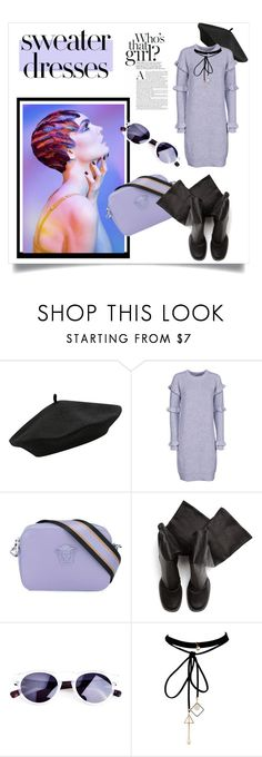 """""""Cozy and Cute: Sweater Dresses"""" by kari-c ❤ liked on Polyvore featuring M&Co, MICHAEL Michael Kors, Versace, Rick Owens, WithChic and sweaterdresses"""