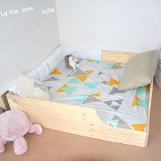 Making wooden bed frame with natural pine planks. Large square ground bed Montessori inspiration for baby. Pink Bedroom For Girls, Baby Bedroom, Kids Bedroom, Small Space Interior Design, Interior Design Living Room, Large Beds, Wooden Bed Frames, Kid Beds, Kids Furniture