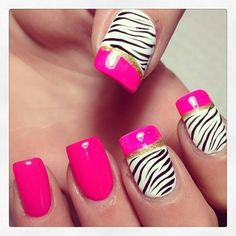 zebra nails with pink and gold! Pink Zebra Nails, Zebra Nail Art, Zebra Print Nails, White Nail Art, New Nail Art, Striped Nails, Stylish Nails, Trendy Nails, Nailed It