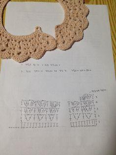 20160926 사용바늘 : 모사용 5호 사용실 : 아크릴콘사 사용도안 ::원피스나 티셔츠 위에 해주면 확~~ 여성... Crochet Collar Pattern, Crochet Lace Collar, Crochet Baby Dress Pattern, Crochet Yoke, Crochet Square Patterns, Crochet Diagram, Crochet Stitches Patterns, Diy Crochet, Sewing Patterns