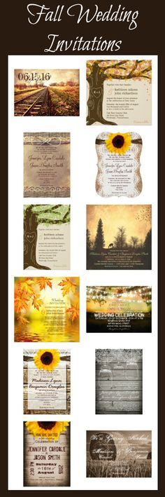 Fall Wedding Invitations for an autumn wedding. Rustic Wedding Invitations
