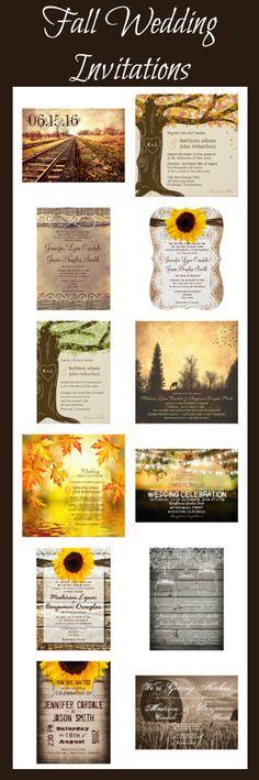 Fall Wedding Invitations for an autumn wedding. Rustic Wedding Invitations