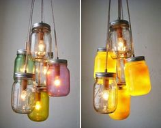enthralled by these mason jar lights. would be great outdoor lighting! Mason Jar Chandelier, Mason Jar Lighting, Jar Lights, Hanging Lights, Mason Jar Lamp, My New Room, Wedding Blog, Wedding Ideas, Wedding Colors