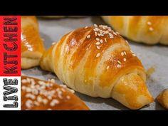 Τα καλύτερα Κρουασανάκια με ζαμπόν και τυρί!! (Χωρίς μίξερ) - Ham & feta cheese Croissants recipe!! - YouTube Kitchen Living, Recipies, Brunch, Croissants, Bread, Snacks, Feta, Breakfast, Youtube