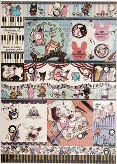 cute Sentimental Circus Memo Pad bunny & musical notes 6