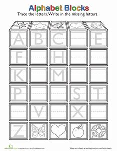 Does your child know how to write the whole alphabet? This trace-and-write exercise covers all the letters from A to Z! As he fills in the missing letters, he'll increase his familiarity with the alphabet and strengthen his hand muscles. Missing Letter Worksheets, Reading Worksheets, Alphabet Worksheets, Alphabet Activities, Kindergarten Worksheets, Handwriting Worksheets, Preschool Activities, Kindergarten Reading, Preschool Kindergarten