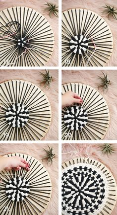 Round Woven Accent Pillow DIY – A Beautiful Mess – round accent pillow Weaving Projects, Weaving Art, Loom Weaving, Hand Weaving, Small Pillows, Diy Pillows, Custom Pillows, Accent Pillows, Craft Stick Crafts