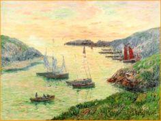 """Sardiniers au port de Doélan"", by Henri Moret"