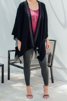 Fight back the chill with fashionable warmth! How would you style this cozy poncho from LYSSE?