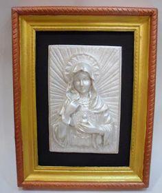 Ateliê Le Mimo: RELIGIOSO Sagrado coração de Maria - placa em gesso