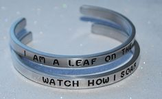 I Am A Leaf On The Wind ~ Watch How I Soar SET  | Engraved not Hand Stamped  #Handmade #Cuff