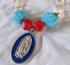 OUR LADY of GUADALUPE necklace with genuine by TackledAndShackled, $38.00