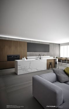 Wooden and duco kitchen. Modern. Sleek. Carrara Marble counter tops.