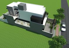 CS - 0027 projeto-planta-casa-sobrado-arquitetura-moderna-180-metros-terreno-8x25 (3) Cs, House, Ideas, Duplex House Plans, Petite Piscine, House Template, House 2, Modern Architecture, Modern Pools
