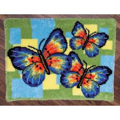 Latch Hook Rug Kits Unfinished Crocheting Tapestry Yarn Needlework Cushion Set for Embroidery Carpet Three Butterlies Home Decor Diy Carpet, Rugs On Carpet, Carpet Ideas, Diy Bordados, Home Decor Hooks, Knitting Needle Sets, Knitting Needles, Latch Hook Rug Kits, China Crafts