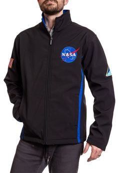 Buy NASA Logo Bonded Polyester All-Season Unisex Jacket online - Moretopshopping Mens Long Johns, Nasa Clothes, Tactical Jacket, Business Casual Men, Sleeveless Jacket, Lightweight Jacket, Mens Clothing Styles, Hooded Sweatshirts