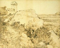 Hill with the Ruins of Montmajour, 1888, Vincent van Gogh Size: 47.5x59 cm Medium: ink on paper