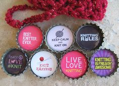 Cute knitting-themed bottle cap magnets to make