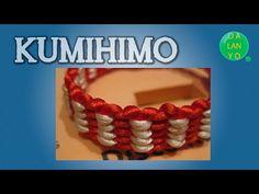 Tutorial como hacer una pulsera con kumihimo redondo dos colores. - YouTube