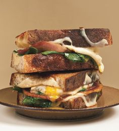 Grilled cheese and fried egg sandwiches.