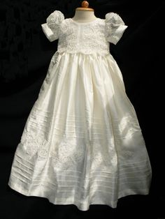 Dupioni Silk, EXQUISITE Lace Christening Gown, Baptism Gown, 0-3 months, 3-6 months, 6-9 months, 9-12 months, 12-18 months, 18-24 months, on Etsy, $97.00