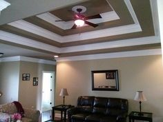 Triple trey ceiling with 3 step crown