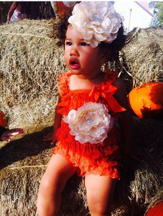 Autumn Leaves Autumn Orange Lace Petti Romper with by LovCouture, $45.00