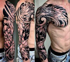 Amsterdam tattoo 1825 kimihito japanese style custom tattoo design phoenix full sleeve black and gray Phoenix Tattoo Sleeve, Dragon Sleeve Tattoos, Best Sleeve Tattoos, Tattoo Sleeve Designs, Koi Tattoo Sleeve, Koi Dragon Tattoo, Tribal Phoenix Tattoo, Badass Tattoos, Body Art Tattoos