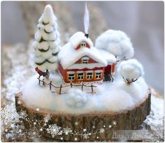 """Buy and order Felt miniature. The birthplace of WINTER """"winter Morning"""" on Livemaster online shop. Felt Christmas, Christmas Crafts, Christmas Decorations, Christmas Ornaments, Holiday Decor, Christmas Houses, Christmas Candles, Christmas Centerpieces, Wet Felting"""