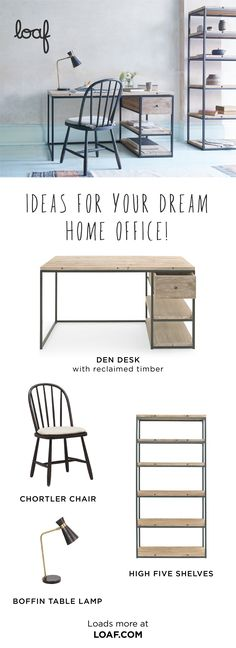 The Den is a seriously clever desk, the gunmetal frame paired with the reclaimed timber makes this the bees knees. Study Room Decor, Cute Room Decor, Room Ideas Bedroom, Bedroom Decor, Home Office Design, Home Office Decor, Home Interior Design, Home Decor, Aesthetic Room Decor