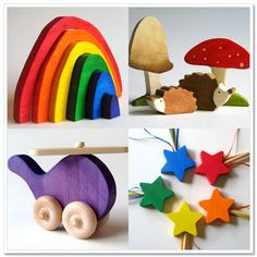 Colorful wooden toys- love! I want my kids to play with toys that don't have lights, bells, whistles, etc.