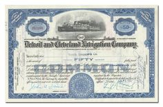 Detroit and Cleveland Navigation Company Stock Certificate (Blue)