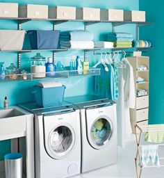 Awesomely bright laundry room. Love!! Trying to decide on turquoise or bright fuscha