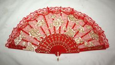 Chinese Lace Hand-Held Folding Fan - Red